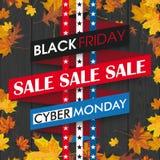 Black Friday Cyber Monday Ribbon Autumn Foliage Black Wood Stock Photo