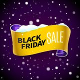 Black Friday sale ribbon and snow Royalty Free Stock Image