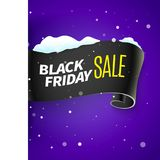 Black Friday sale ribbon and snow Royalty Free Stock Images