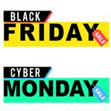 Black Friday and Cyber Monday sale banners. On white background Stock Photos