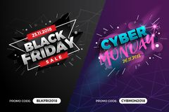 Black Friday and Cyber Monday Sale Promotion Banner Background w. Ith Promo Code Field. Vector illustration royalty free illustration