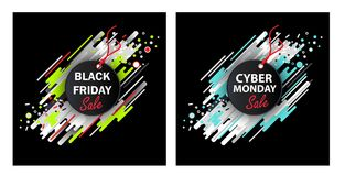 Black Friday and Cyber Monday. Set of two sale banners, ovals and stripes, abstract background, round banner, advertisement. Vector illustration. Design Royalty Free Stock Photos
