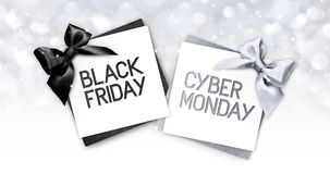Black friday and cyberg monday text write on gift card label wit stock illustration