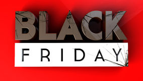 Black Friday 3D crushing on red background Stock Image