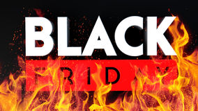 Black Friday 3D fire on black background Royalty Free Stock Photos
