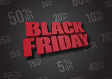 Black Friday 3D illustration Fotografering för Bildbyråer