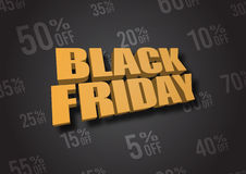 Black Friday 3D illustration Royaltyfri Bild