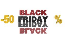 Black Friday, 3D Illustration, bestes Geld Stockfotografie