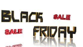 Black Friday, 3D illustration. Text Black Friday for holiday shopping Stock Photo