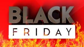 Black Friday 3D na czerwonego ogienia tle Fotografia Stock