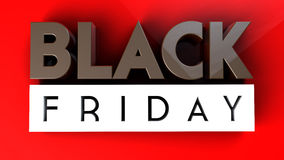 Black Friday 3D na czerwonym tle Zdjęcia Stock