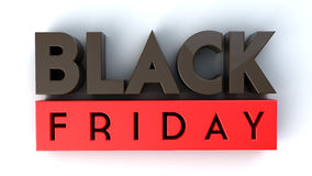 Black Friday 3D na odosobnionym Obraz Royalty Free