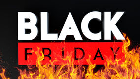 Black Friday 3D ogień na czarnym tle Fotografia Royalty Free