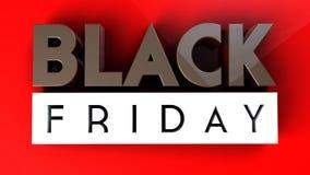 Black Friday 3D op rode achtergrond Stock Foto's