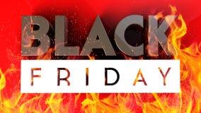 Black Friday 3D op rode brandachtergrond Royalty-vrije Stock Foto's