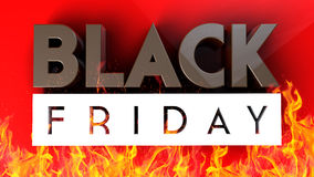 Black Friday 3D op rode brandachtergrond Stock Fotografie