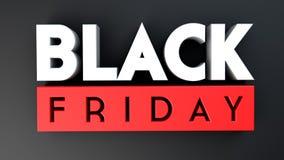 Black Friday 3D op zwarte achtergrond Stock Fotografie