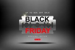 Black Friday, 3d razor blade big Sale, cutting discounts, prices cut, creative template on flat design. Black Friday, 3d razor blade big Sale, cutting discounts Stock Images