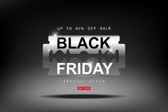 Black Friday, 3d razor blade big Sale, cutting discounts, prices cut, creative template on flat design vector illustration
