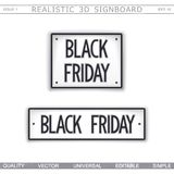 Black Friday. 3D signboard. Top view. vector illustration
