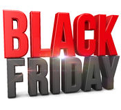 Black Friday. 3D text  on white background Stock Photos