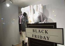 Black friday day sign in store Stock Photo