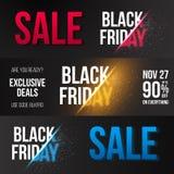Black Friday-de Bannermalplaatje van Verkoop Vectorexlosion Reusachtig November Stock Afbeelding