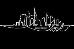 Black Friday in de Stad: de Perfecte Verkoop Witte Lintbanner in Vlakke Stijl op een Zwarte Achtergrond met een Samenvatting stock illustratie