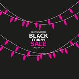 Black Friday-de Verkoop met de hand gemaakt met Kerstmis steekt kaars-vormige garlandand donkere achtergrond voor embleem, banner royalty-vrije illustratie