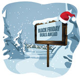 Black Friday deals ahead sign in wintry scene Stock Image