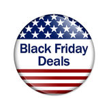 Black Friday Deals Button. A USA flag design button with words Black Friday Deals isolated on a white background Royalty Free Stock Photography