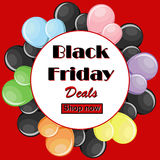 Black Friday deals concept with colorful balloons and round white frame. On red background with button shop now. Vector illustration in flat style Stock Photo