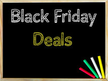 Black Friday Deals text on blackboard Royalty Free Stock Photo