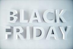 Black Friday - den mest förväntade Sale av året 3D vitt baner, text på den vita väggen Storslagna rabatter Endast en gång a stock illustrationer