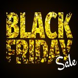 Black Friday design for banners and leaflets - black and gold colors - sale sign. Glitter lettering royalty free illustration
