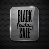 Black friday design in glass frame on technological backg Royalty Free Stock Images