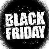 Black Friday design template in grunge style. Emblem poster nigh Stock Photo