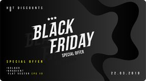 Black friday discount banner with fluid style. Template for design advertising and poster on liquid and colour background. Flat ve. Ctor illustration EPS 10 royalty free illustration