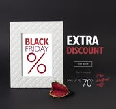 Black Friday discount banner, with a vintage woman's wallet in front of it. Black Friday discount banner. White photo-frame on a black background, with a Stock Image