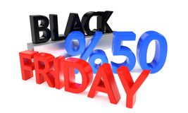 Black Friday discount of fifty percent, 3d rendering. Black Friday discount of fifty percent, 3d render Royalty Free Stock Photography