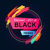 Black Friday Discount 25 Inscription Circle Frame. Black Friday discount -25 inscription in circle frame with color brush strokes, vector illustration Stock Photography