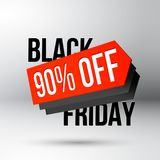 Black Friday discount poster with sale price tag. Black Friday discount poster with 90 percent off sale price tag for shop clearance action vector illustration