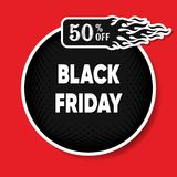 Black friday discount round banner Stock Image