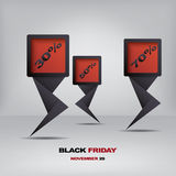 Black friday discount tag or sticker with Royalty Free Stock Photo