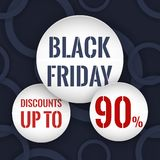 Black friday. Discounts up to 90 %. Circle paper banners on the abstract dark blue background with rings. Stock Image