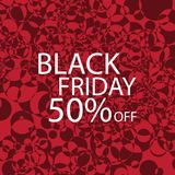 Black Friday Black dots on red background. Royalty Free Stock Images