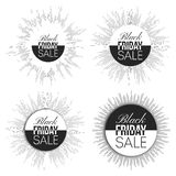 Black friday elements, noir design sale banners. Set, vector illustration Stock Photos