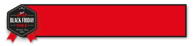 Black Friday Emblem Red Banner Stock Images