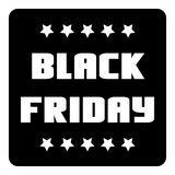 Black friday emblem with stars icon, simple style Royalty Free Stock Photography