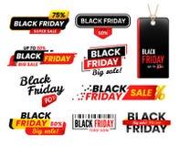 Black Friday etiketter Den Sale klistermärken för tacksägelsefredagar försäljningar som shoppar etikettsklistermärkeetiketten, pl vektor illustrationer